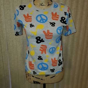 Junk Food peace & music cropped tee